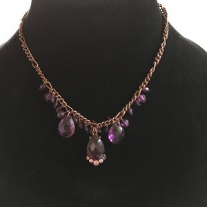 Jewelry - 1928 vintage style necklace with purple glass bead